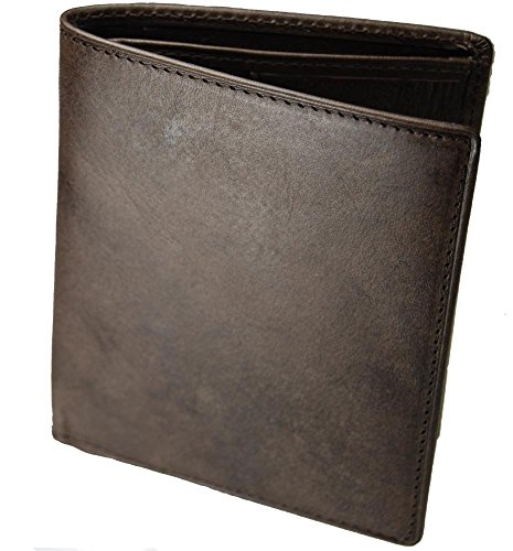 Castello Italian Premium Belting Leather Vertical Bifold wallet w/RFID (Dark Brown)