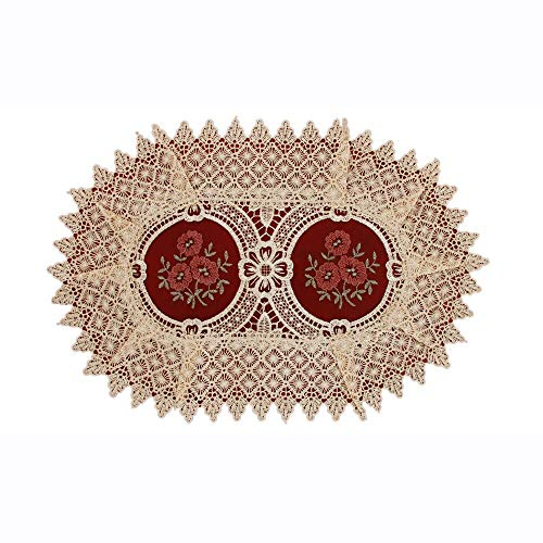 Oval Lace - Simhomsen Vintage Look Burgundy Lace Table Placemats Doilies Set of 6, Oval 12 × 18 inch, Customer Order