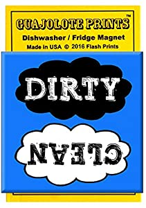 Clean Dirty Dishwasher Magnet Cute Stylish Black & White Clouds Blue Background