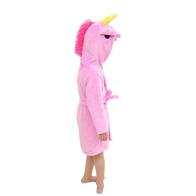 Toddler Rose Red Unicorn Bath Robe Girls Boys Fleece Hooded Bathrobe Kids  Pajamas Children s Sleepwear Plush 482cf234b