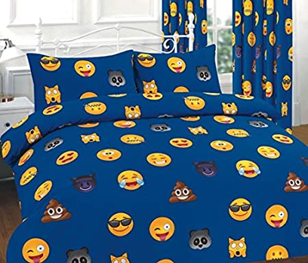 Goldstar® Emoji Smiley Faces Quilt Cover Bed Linen Duvet Cover Bedding Set  With Pillow Case