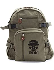USMC Semper Fi Skull Marine Corp Army Sport Heavyweight Canvas Backpack Bag