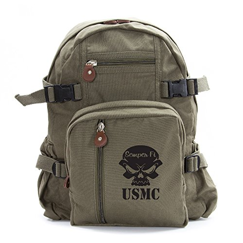 USMC Semper Fi Skull Marine Corp Army Sport Heavyweight Canvas Backpack Bag in Olive & Black, Small