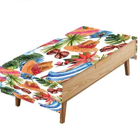 PINAFORE プリント生地テーブルクロス フルーツペイントブラシスタイル スイカのアップルバナナがテーマのピクニック。ギャザリング幅50×長さ80インチ。 W50