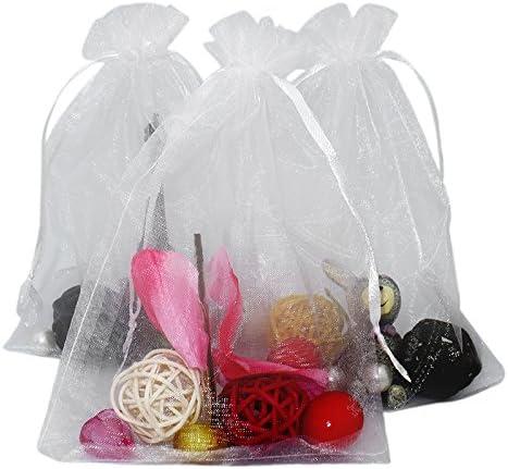 100 piezas, Bolsas de Organza extra grande 13 X 18 cm, Bolsas de Regalo de Organza para Joyas y Boda, Bolsas de Dulces, Blanco