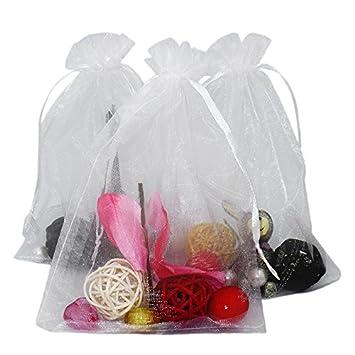 100 piezas, bolsas de organza extra grande 13 X 18 cm, bolsas de regalo de organza con cordón para joyas, bolsas de regalo, bolsas de dulces, blanco