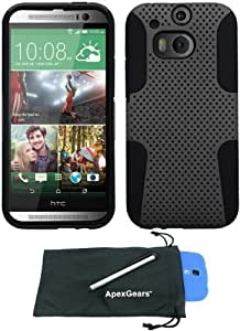 For HTC One 2 M8 Perforated Design Hybrid Phone Cover Case with Stylus Pen and ApexGears (TM) Phone Bag (Grey Black)