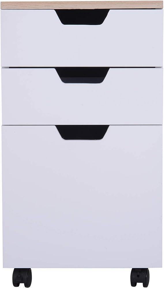 33 /× 45 /× 60cm Bianco homcom Cassettiera Armadietto Portadocumenti in Legno