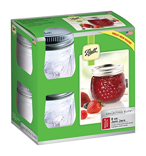 Ball Jelly Elite Collection Jam Jar (4 Pack) - 8 oz - Clear ()