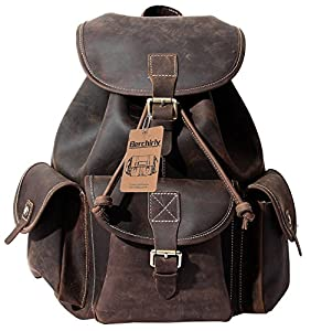 Amazon.com: Leather Backpack, Berchirly Vintage Real Leather ...