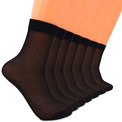 (Sept.Filles Socks Men's Pure Silk Socks Ultrathin Crew Socks Packs of 7 (Black))