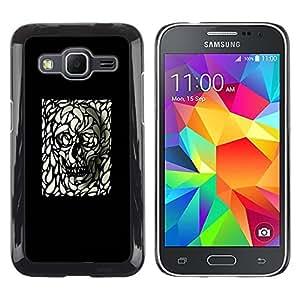 iKiki Tech / Estuche rígido - Skull Art Black White Deep Dark Goth Metal - Samsung Galaxy Core Prime SM-G360