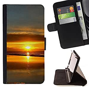 BullDog Case - FOR/HTC One M9 / - / Sunset Beautiful Nature 99 /- Monedero de cuero de la PU Llevar cubierta de la caja con el ID Credit Card Slots Flip funda de cuer