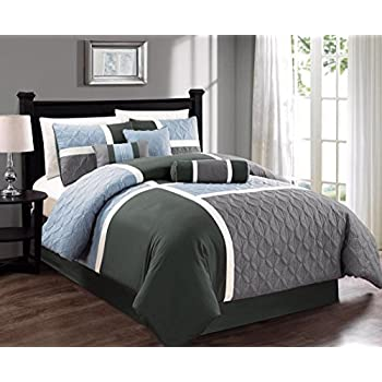Amazoncom Chic Home Piece Euphoria Embroidered Comforter Set - Blue and grey comforter sets queen