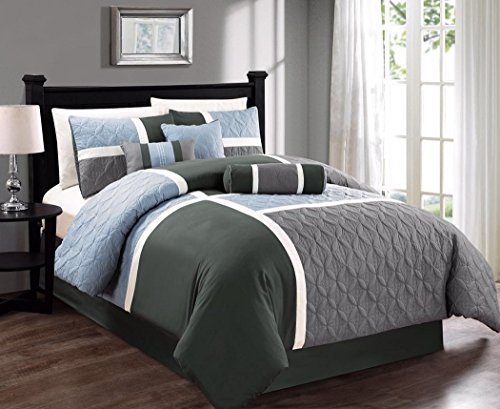 Chezmoi Collection 7-Piece Quilted Patchwork Comforter Set (Queen, Gray/Charcoal/Blue) (And Comforter Gray Blue)