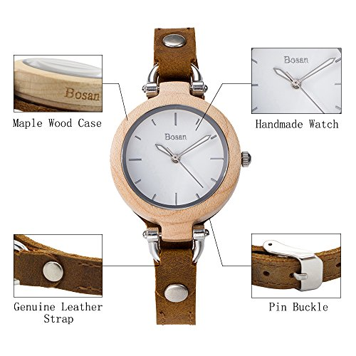 Wood Watch,Bosan Women Stylish CD Line Small Face Unique Design Wooden Wrist Watch with Light Genuine Leather Strap(Maple) by Bosan (Image #4)