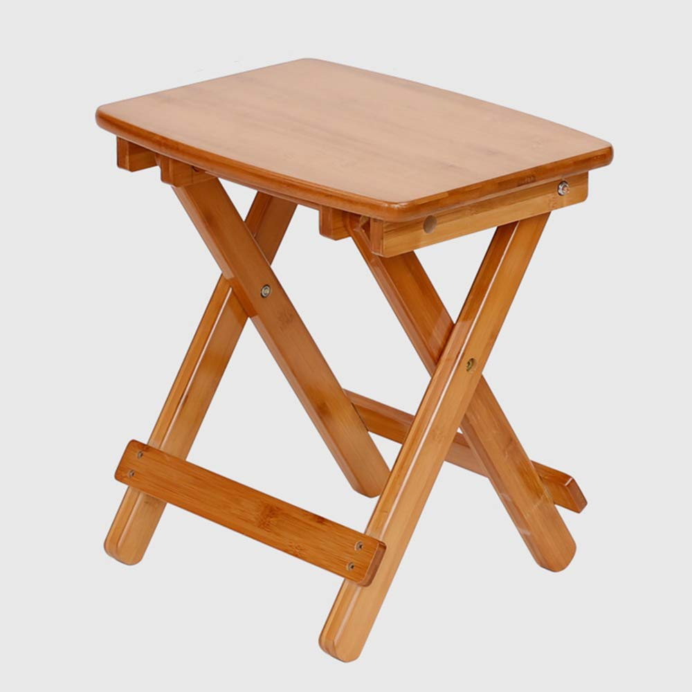 A LJHA ertongcanyi Leisure Solid Wood Foldable Footstool Modern Portable Thickened Square Stool Household Simple Low Stool Space-Saving Durable Chair (Size   C)
