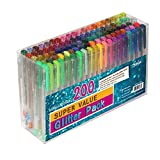Feela 200 Pack Glitter Gel Pens Set 100 Gel Pen plus 100 Refills for Adult Coloring Books Drawing Art Markers