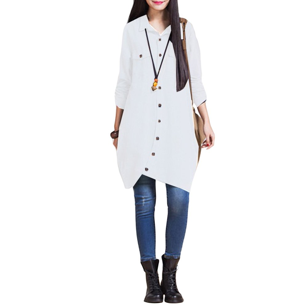 Romacci Women Button Down Long Blouse Casual Cotton Linen Plus Size Top Shirt Dress