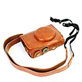 CEARI Leather DSLR Camera Case Bag with Neck Strap for Canon Powershot SX720 HS Digital SLR Camera - Brown