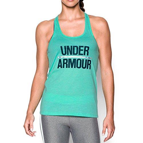 super słodki sklep z wyprzedażami atrakcyjna cena Under Armour Women's Foil Word Mark Tank, Crystal/Nova Teal, - Import It All