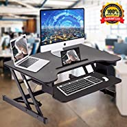"Standing Desk, Height Adjustable Stand Up Desk Gas Spring Riser Converter Sit to Stand Desk with Removable Keyboard Tray for Desktop Laptop Dual Monitor (32"" Standing Desk)"