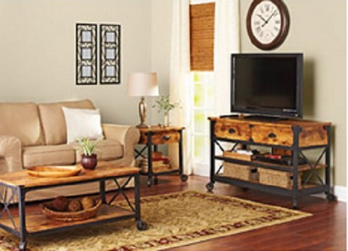 Rustic Living Room Table Sets: Rustic Vintage Country Coffee Table, End Table & TV Stand