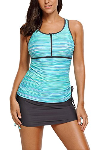 2 Skirted Tankini Piece (Chase Secret Womens Stripes Print Tankini Tops Two Piece Swimsuit Tankini with Skirted Bottom Small Green)
