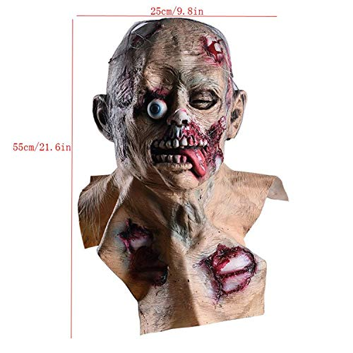 Halloween Latex Mask Zombie Mask Scary Masque Masquerade Masker Scab Bloody Halloween Prop Club Haunted Horror Party Supplies]()
