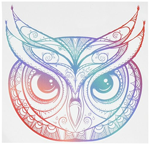 Divine Designs Beautiful Rainbow Ombre Henna Pattern Owl Drawing Vinyl Decal Sticker (4