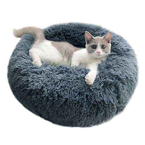(Handfly Luxury Fluffy Pet Bed for Cats Small Dogs Round Cuddler Plush Cozy Self-Warming Plush Donut Pet Cat Bed for Cats,Small Dogs and Other Small Animals Bed)