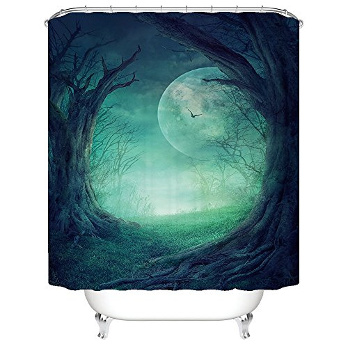 [Halloween Night Theme Terror Strange Dead Wood Shower Curtain Polyester Fabric Mildew Proof Waterproof Cloth Shower Room Decor Shower] (Mounted Animal Head Costume)
