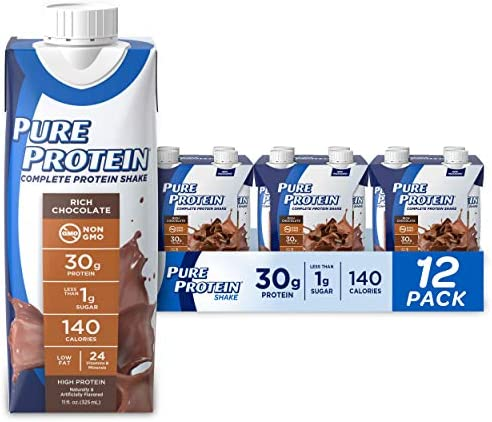 Pure Protein, Complete Protein Ready to Drink Chocolate Shake, 30g Whey Protein, Snack, With Vitamin A, Vitamin C, Vitamin D, and Zinc to Support Immune Health, 11oz, Pack of 12 1