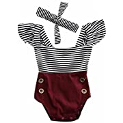 2Bunnies Newborn Toddler Baby Girl Striped Romper Bodysuit+Headband Sunsuit Outfit Set (12M, Burgundy)
