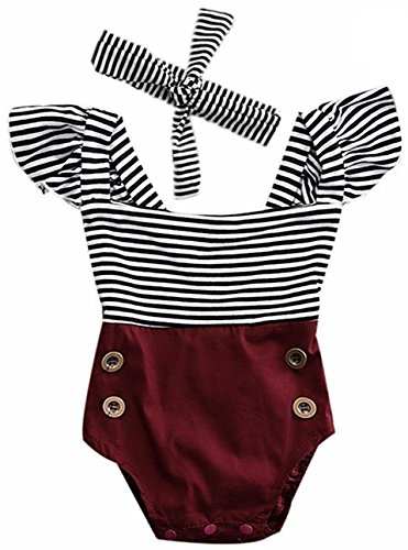 2Bunnies Newborn Toddler Baby Girl Striped Romper Bodysuit+Headband Sunsuit Outfit Set (18-24 Months, Burgundy)