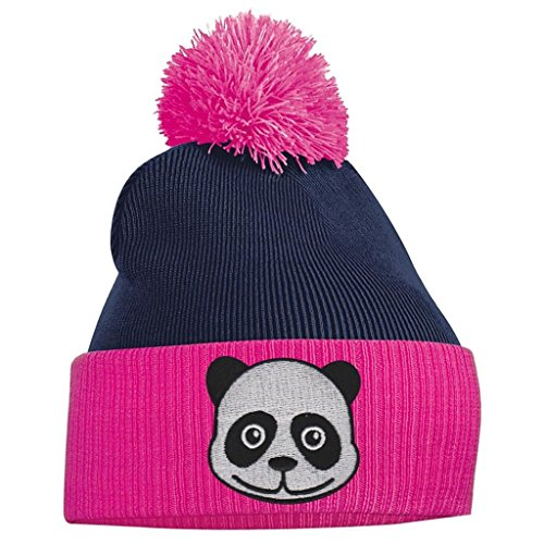 Clothing French Panda Pom Pom Tidy and Beanie Navy Bang Face Fuschia 1w5qH7Wc