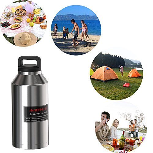 INNERNEED 64 oz Insulated Water Bottle Leak-Proof Stainless Steel Double-Walled Vacuum Flask Large Capacity Beer Growler by Innerneed (Image #3)