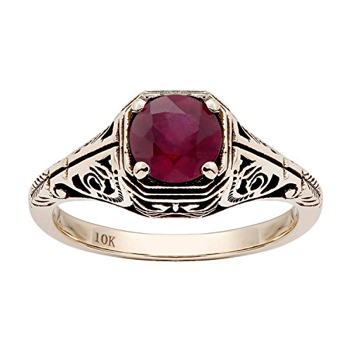 10k Yellow Gold Vintage Style Genuine Round Ruby Filigree Ring