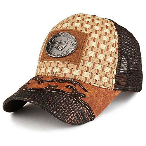 Trendy Apparel Shop Straw Design Metallic Hecho EN Mexico Eagle Metal Logo Mesh Baseball Cap - Tan Brown