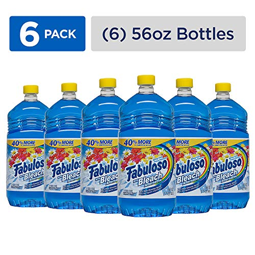 Spring Dish Palmolive - FABULOSO All-Purpose Cleaner with Bleach Alternative, Spring Fresh, Bathroom Cleaner, Toilet Cleaner, Floor Cleaner, Washing Machine and Dishwasher Surface Cleaner, Mop Cleanser, 56 Fluid Ounce (Case of 6 Bottles) (153099)