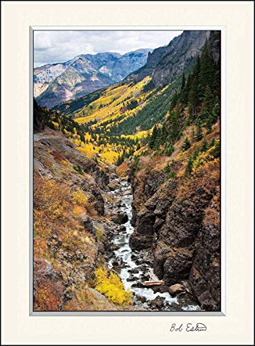 11 x 14 inch mat including landscape wall art photograph of mountain stream carving its way down the canyon rocks among the forest of yellow aspen trees