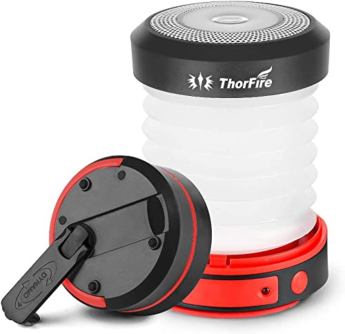 Thorfire LED Camping Lantern Lights Hand Crank USB Recgargeable Lanterns Collapsible Mini Flashlight Emergency Torch Night Light Portable Survival Light for Hurricane Outages Camping Hiking Tent-Black