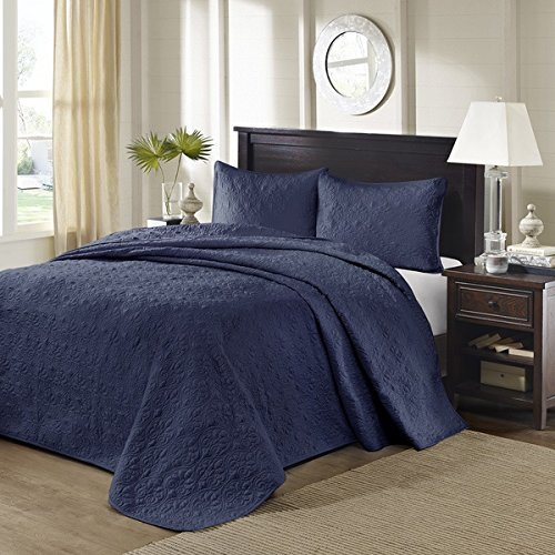 3pc Oversized Blue Navy King Bedspread Floor Set, Stylish Classic Stitched, Large Extra Long Wide Bedding, Bedding Drops Over Edge King Beds, 120 X 118, Polyester