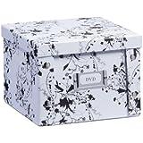 Zeller 17846 Boite de rangement en carton pour DVD motif floral blanc, 21,5 x 20,5 x 15 cm