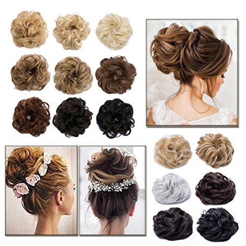 Scrunchy Updo Hair Extensions Wavy Curly Hair Bun Messy Donut Chignons Synthetic Scrunchies Hairpiece Ombre Gradient Color Blonde Brown Black (Mall The Perimeter)