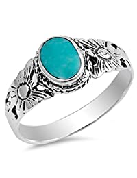 Flower Simulated Turquoise Fashion Bali Ring New .925 Sterling Silver Band Sizes 4-10