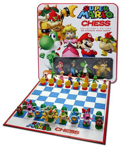 Super Mario Chess Set | 32 Custom Scuplt Chesspiece Including Iconic Nintendo Characters Like Mario, Luigi, Peach, Toad, Bowser | Themed Chess Game from Nintendo Mario Video Games