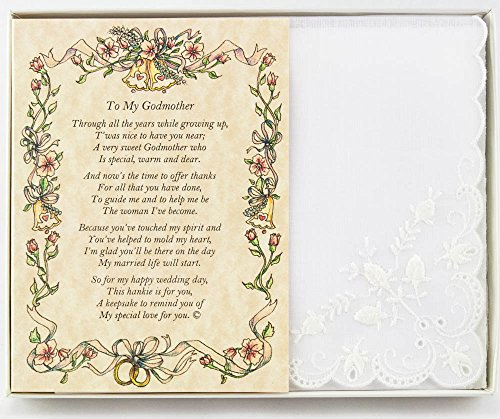 (Wedding Handkerchief Poetry Hankie (for Bride's Godmother) White, Lace Embroidered Bridal Keepsake, Beautiful Poem | Long-Lasting Memento for The Bride's Godmother | Includes Gift Storage Box)