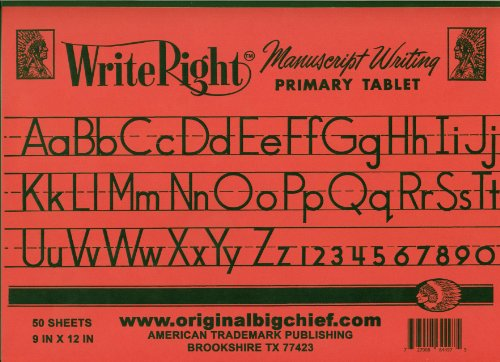 Big Chief Primary Learn to Write Tablet, Write Right, 9 X 12 Inch, 50 Sheets (Writing School Tablet)