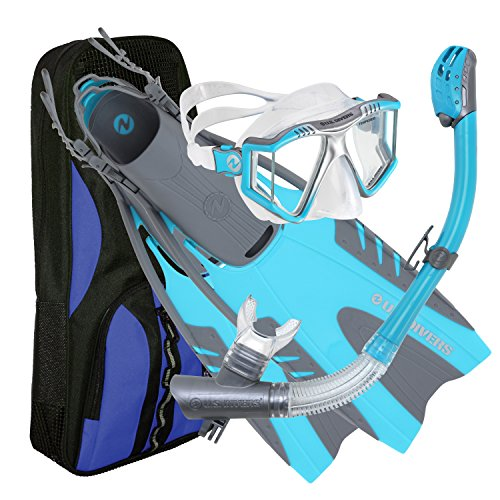 (U.S. Divers Lux Mask Fins Snorkel GoPro Ready Set, Aqua WITH GoPro Camera Mount, Small/Medium(Men 4-8.5, Women 5-9.5) )
